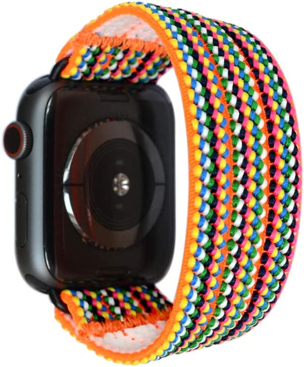 Tefeca Colorful Braided Elastic Compatible/Replacement Band for Apple Watch 38mm/40mm (Black Adapters, XS fits Wrist Size : 5.5-6.0 inch)