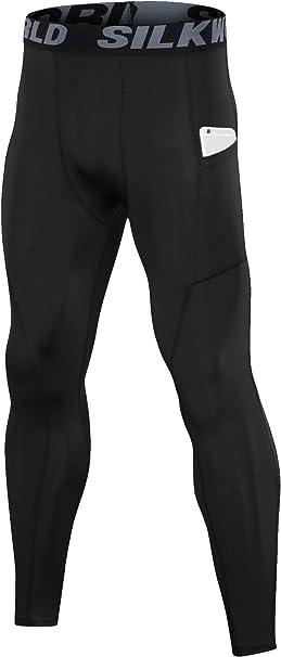 L Black SILKWORLD Mens Compression Shorts Pockets Sports Running Tight