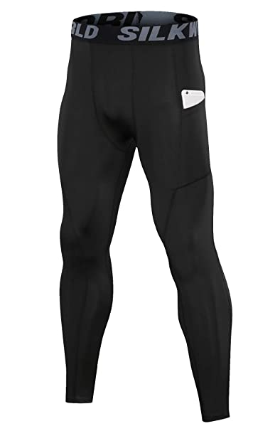 6e4f912494 SILKWORLD Men's Compression Pants Pockets Cool Dry Sports Leggings Baselayer  Running Tights (SW32#Black