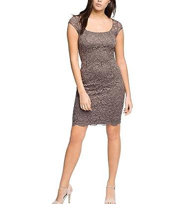 ESPRIT Collection Damen Etui Kleid süße Spitzenverzierung, Knielang, Gr.  34, Braun ( 5202e1439e