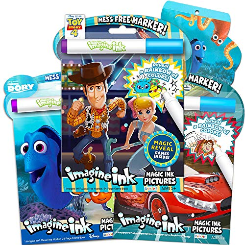 Toy Story Magic Ink Coloring Book Set -- 3 Disney Pixar Imagine Ink Books for Kids Toddlers Featuring Toy Story, Wreck It Ralph, Finding Dory with Invisible Ink Pens and Stickers (Mess Free Coloring) -