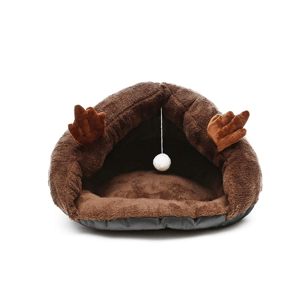 BROWN S BROWN S Cat Bed, Four Seasons Available Triangle Dog Bed Thick Warm Cat Sleeping Bag Pet Bed, Multi-color Optional (color   Brown, Size   S)