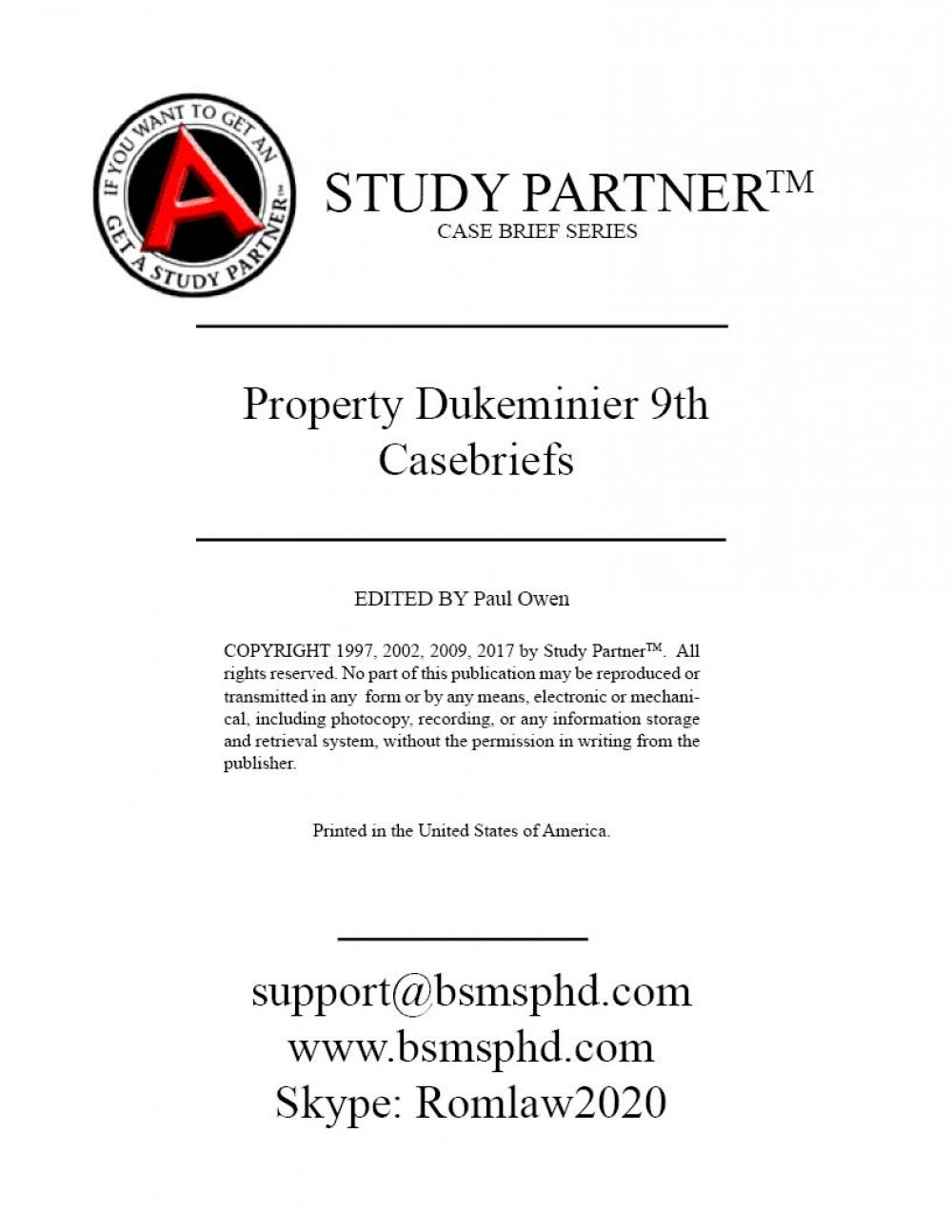 Read Online Casebriefs for the casebook titled Property 9th Edition by Dukeminier ISBN: 9781454881995 1454881992 9781454898177 9781454898283 9781454897026 9781454896739 9781454896821 pdf