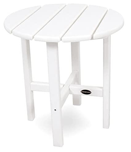 size 40 2df97 42baa Amazon.com : Small Patio Side Table Round End White Wooden ...