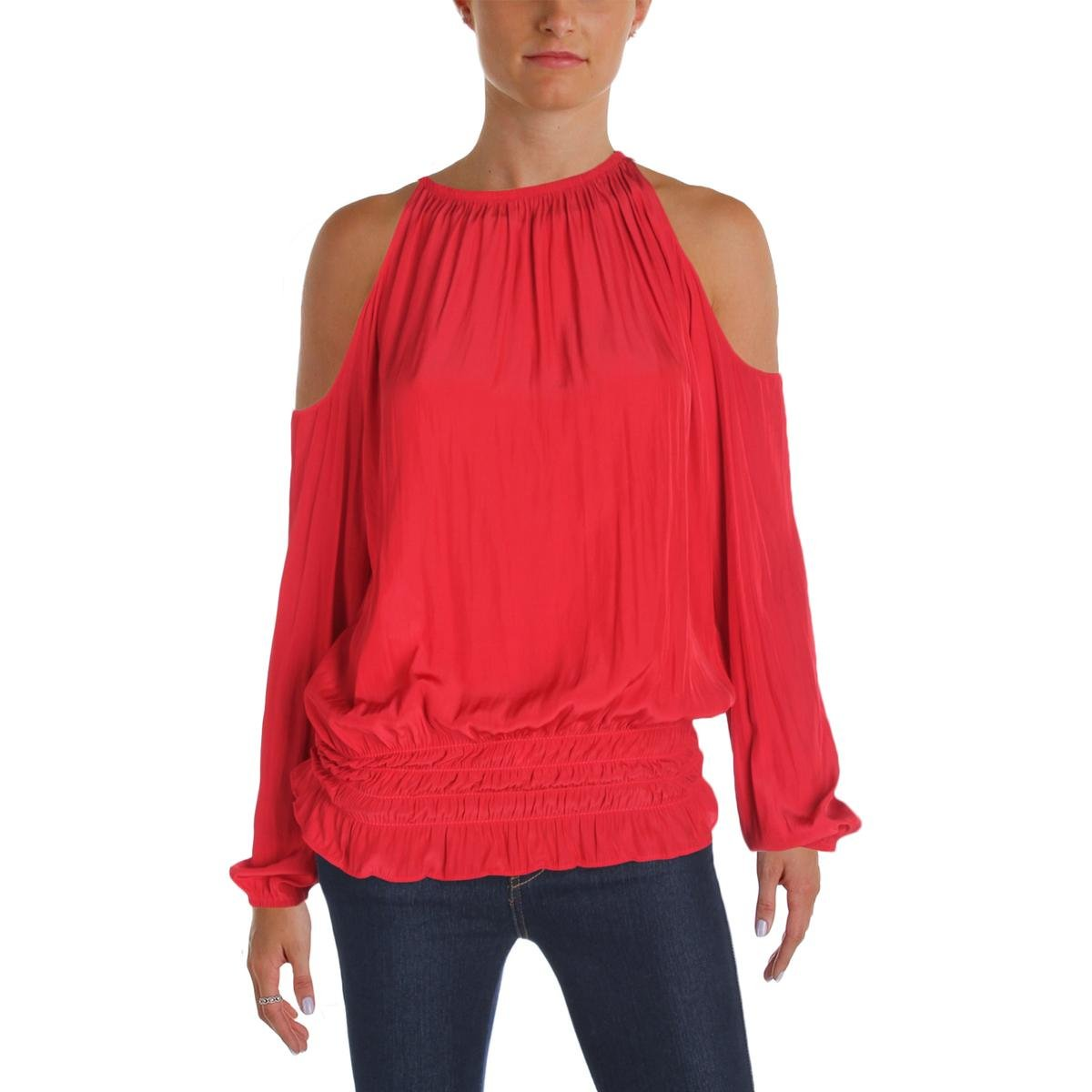 Ramy Brook Womens Cold Shoulder Smocked Casual Top Red S
