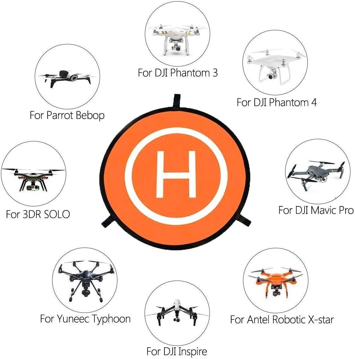 QianChen Drone Landing Pad Dobladillo Plegable Universal Funci/ón para dji Mavic 2 Pro//Zoom//Mavic Air 2//Mavic Pro//Spark////Phantom//Mavic Mini//FIMI X8SE Drone 55CM