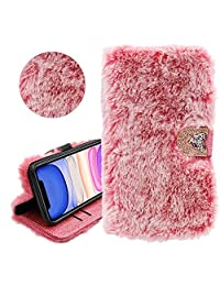 Rabbit Hair Glitter Wallet PU Leather Case for Samsung Galaxy S7, YiCTe Luxury Shiny Rhinestone Diamond Fluffy Plush Bunny Furry Fuzzy Soft Fur Cover with Card Slots,Stand,Kickstand,Pink