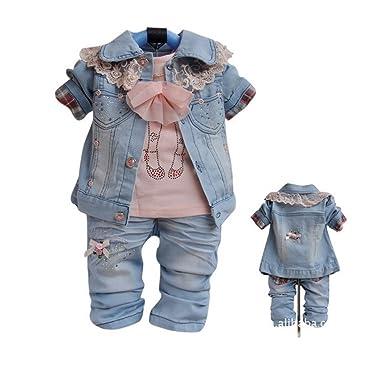 b1b7ef4c9 Amazon.com  SOPO Baby Girls Lace Jeans 3 Piece Set (Jacket