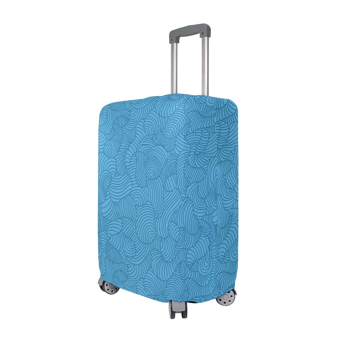 Blue Closed Abstract Lines Traveler Lightweight Rotating Luggage Protector Case Can Carry With You Can Expand Travel Bag Trolley Rolling Luggage Protector Case