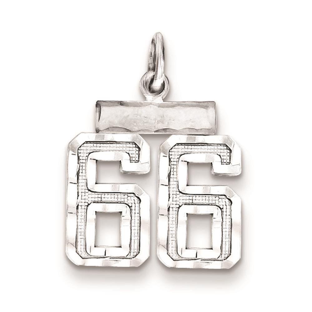 925 Sterling Silver Diamond-cut Small Number 66 Charm Pendant