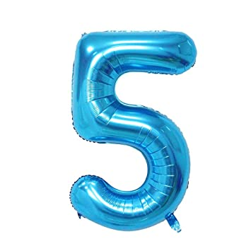 Ruimeier Blue Number 5 Balloon 40 Inch Party Balloons Aluminum Mylar For Birthday Decorations Wedding
