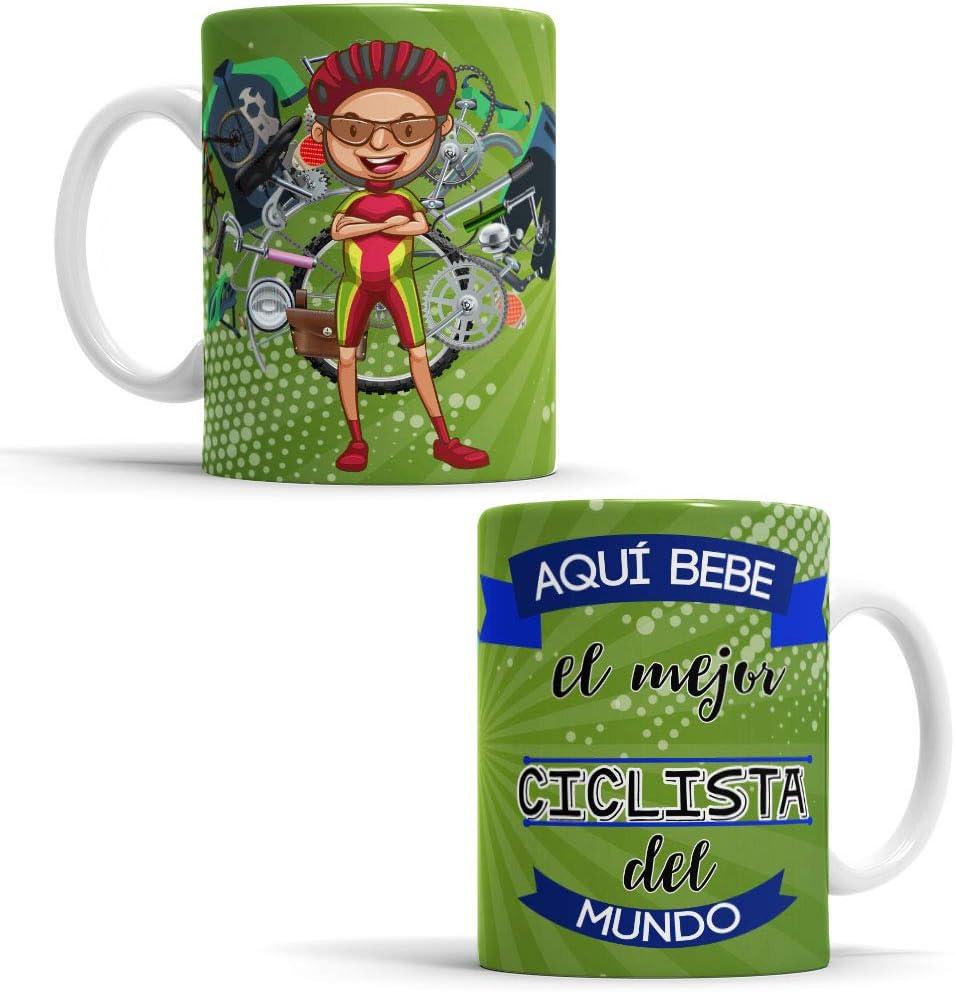 OyC Original y Creativo Taza para Ciclista - Taza Aquí Bebe el Mejor Ciclista del Mundo - Taza Regalo para Ciclista - Taza con Frase y Dibujo (Ciclista)