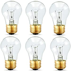 Appliance Light Bulbs 40 Watt A15, 120V Refrigerator Oven Bulbs, High Temp - E27/E26 Medium Base - Dimmable A15 Clear Ceiling Fan Bulbs, Warm White Incandescent Bulb, 400 Lumens Oven Light Bulbs