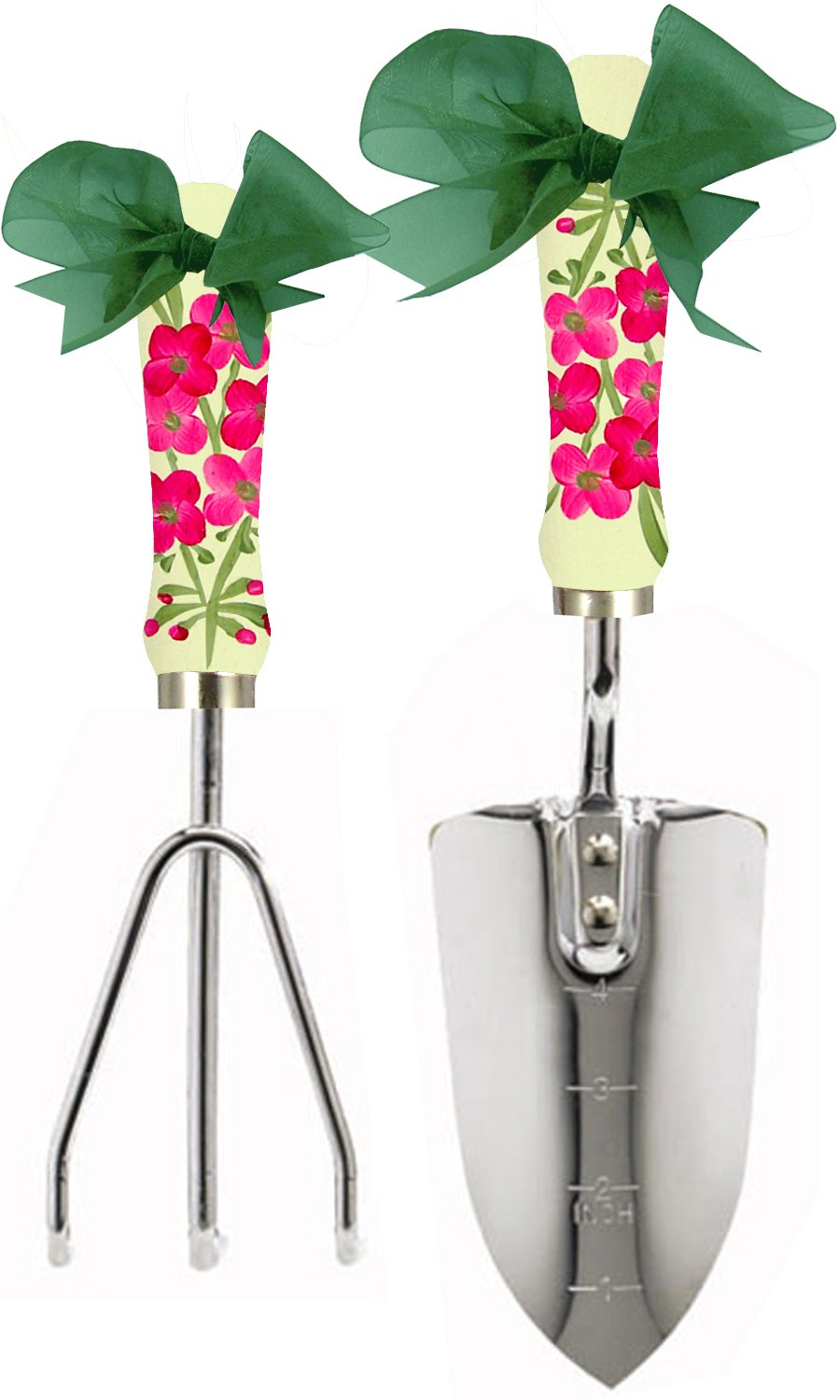 Cute Tools Stainless Steel Garden Shovel and Three Prong Rake - Landscaping Instrument, Hand Painted Wooden Handle In The USA, Durable Yard and Gardening Equipment From CuteTools! - Art For A Cause, Pink Germanium