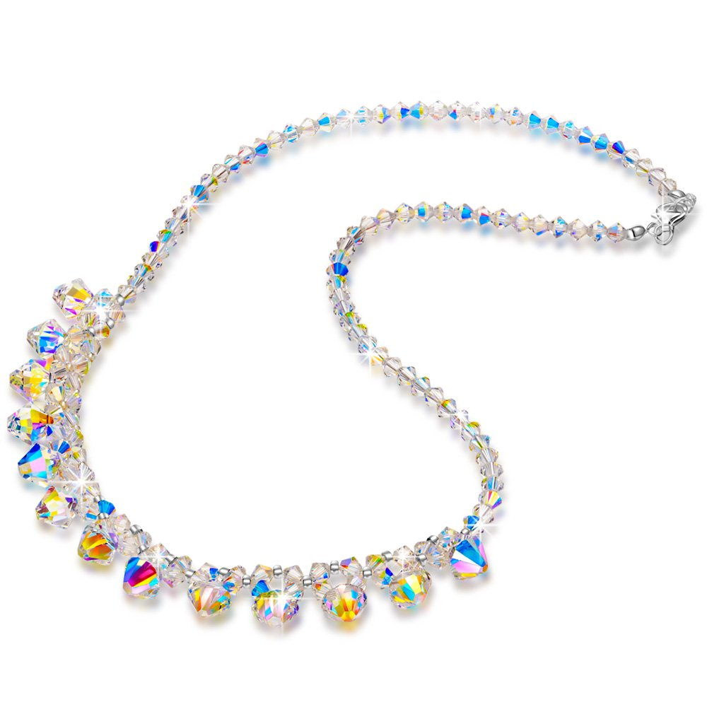 LADY COLOUR Strand Necklace for Women Colorful Pendant with Swarovski Aurore Boreale Crystals Fashion Costume Jewelry Brithday Prensent Wife Her Girls Girlfriend Mom Mother Lady