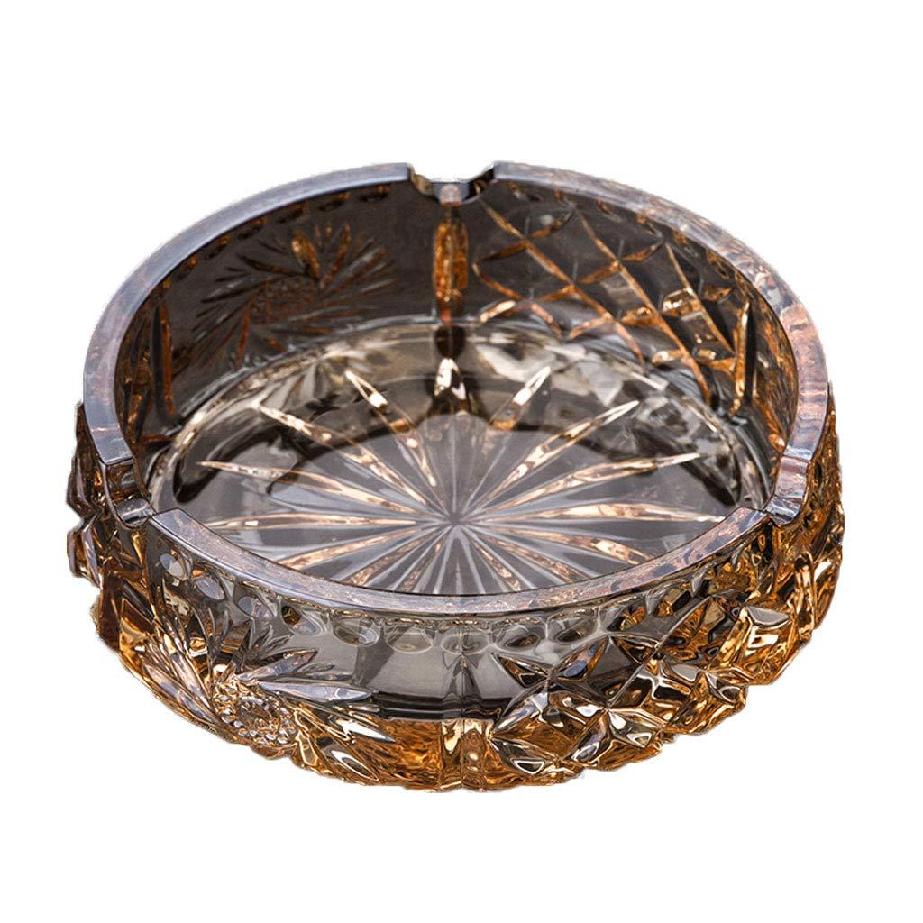 ZDD Crystal Glass Ashtray/Creative Personality Home Practical Ashtray/Decorative Ornaments Gift (ø15.5cm H5cm)