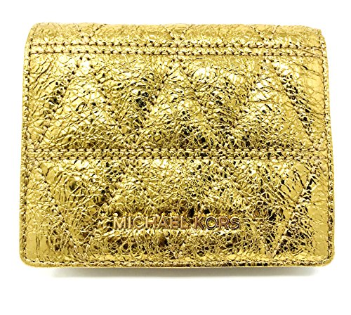 Michael Kors Money Pieces Flap Around Card Holder Pale Gold Quilted Leather