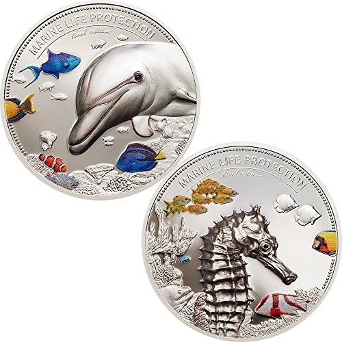 2017 PW Palau Marine Life PowerCoin DOLPHIN AND SEA HORSE Marine Life Protection Set 2x2 Oz Silver Coin 10$ Palau 2017 Proof