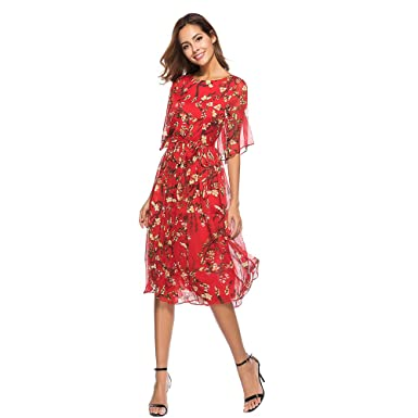 57a8836ab09 feegirl Summer Maxi Dress Women Floral Print Dress See Through Flare Sleeve Long  Dress Red Color Plus Size Casual Beach Dress  Amazon.co.uk  Clothing
