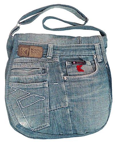 Handbag Hobo Flap Crossbody Denim BDJ Upcycling Over Blue Messenger Jean Shoulder wZvTBPq