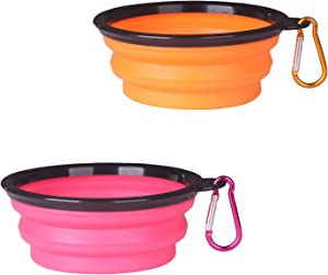 YAKA 2-Pack Collapsible Silica Gel Dog Bowl, Foldable Expandable Cup Dish for Pet Cat Food Water Feeding Portable Travel Bowl with with Carabiner Clip for Travel