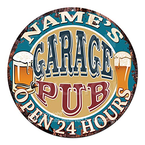 (Any Name's Any Text Garage Pub Custom Personalized Chic Tin Sign Rustic Shabby Vintage Style Retro Kitchen Bar Pub Coffee Shop Man cave Decor Mother's Day Father's Day Housewarming Gift Ideas )