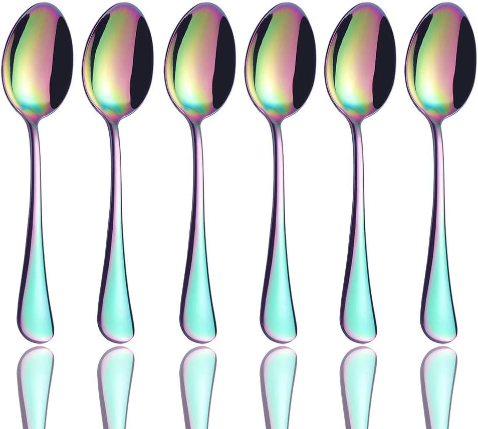 Onlycooker Coffee Spoon Set of 6, Rainbow Small Flatware 18/10 Stainless Steel Tiny Spoon 5-inch Teaspoon Dessert Demitasse Spoons 6 Piece Colorful Silverware Mirror Polished, Dishwasher Safe