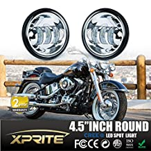 """Xprite 4-1/2"""" 4.5 Inch 60W Cree LED Reflector Passing Light for Harley Davidson Fog Lamps Auxiliary Light Bulb Motorcycle Daymaker Projector Spot Driving Lamp (Chrome)"""