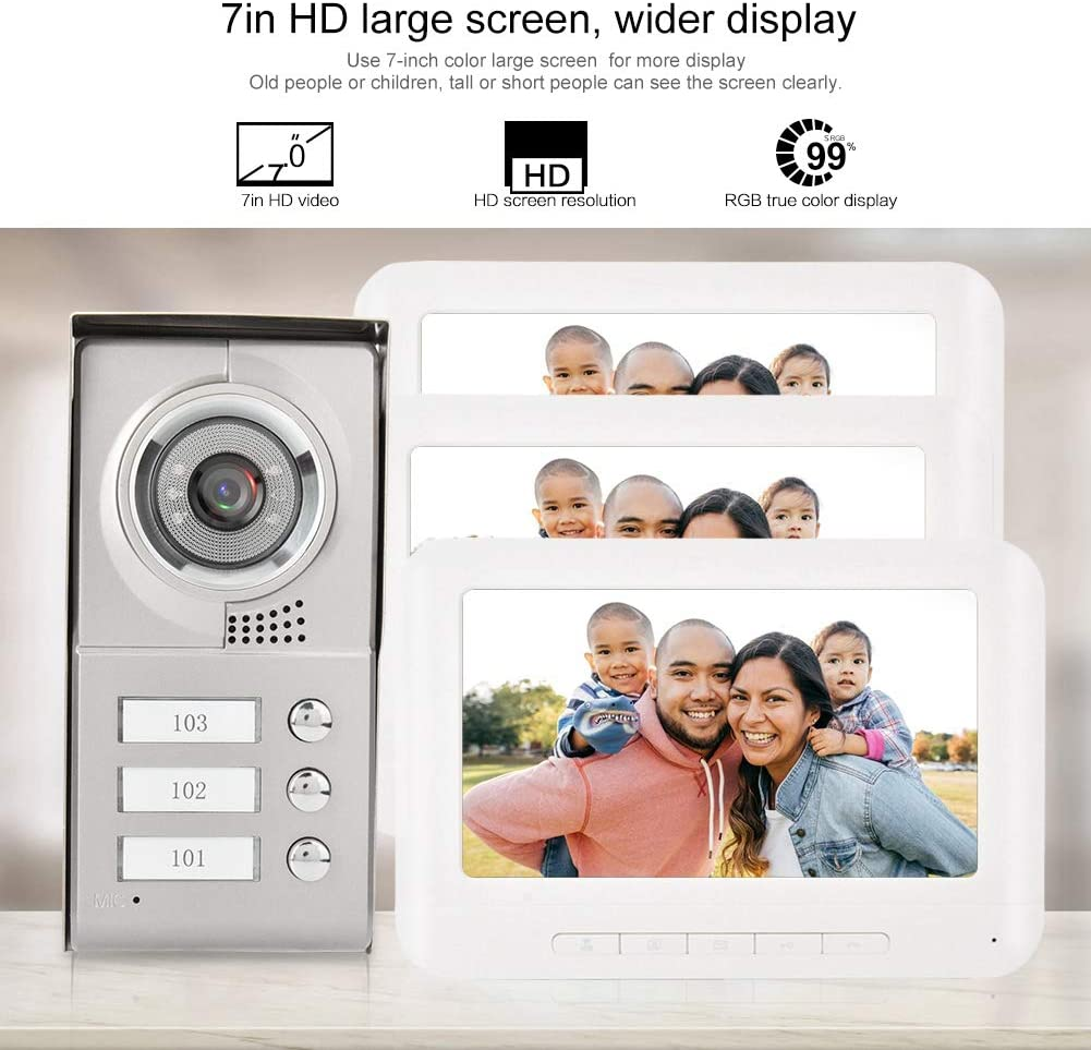 Bewinner /Écran LCD TFT couleur de 7 pouces avec interphone vid/éo /à 4 fils Interphone vid/éo 3 interphones pour moniteur int/érieur pour 3 familles voisines Sonnette dinterphone vid/éo UE
