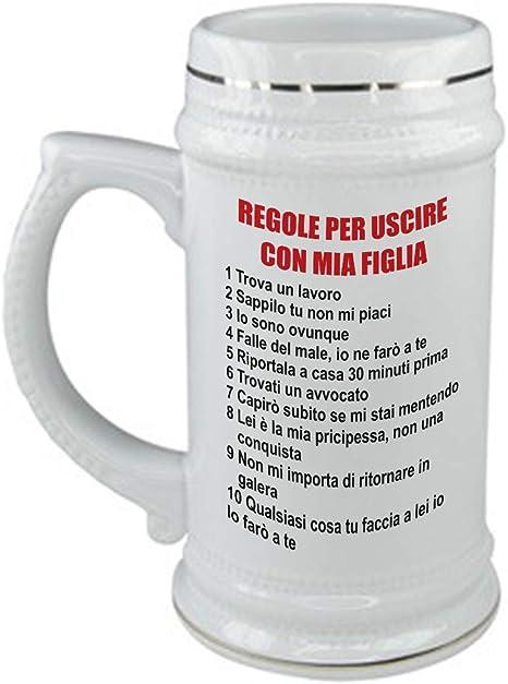 bubbleshirt Boccale da Birra Festa del pap/à Idea Regalo Regole per Uscire con mia Figlia in Ceramica capienza 50 CL
