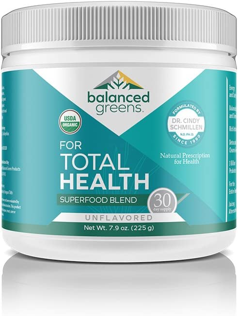 balanced greens Total Health Organic Plant Based Vegan Greens Superfood Powder – Supports Healthy Organs, Gut, Blood, Unflavored-30 Servings