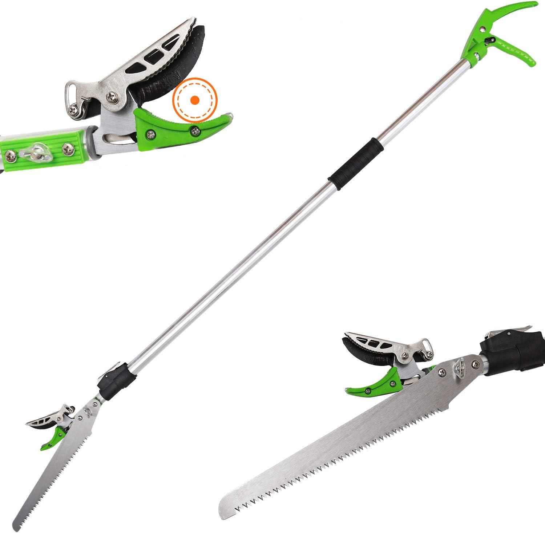 KSEIBI Telescoping Cut and Hold Long Reach Bypass Garden Pruner, Pole Saw, Extendable Saw, Fruit Picker Harvester, Gardening Shear (6-10 Feet Telescoping)