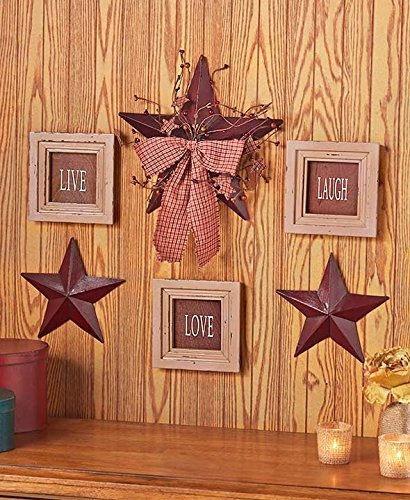 Rustic Star Decor (6 Pc Inspirational Sentiment Star Wall Frame Decor (Burgundy Live Love Laugh))