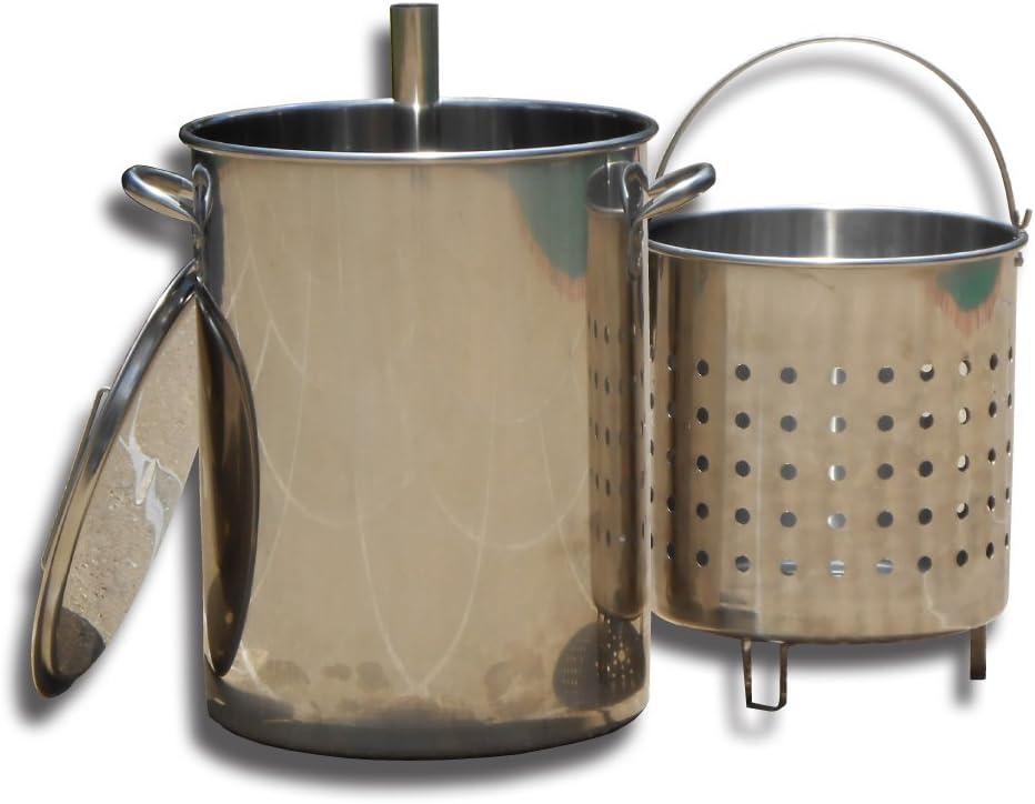 King Kooker KK30SRP 30 Quart Stainless Steel Turkey Skewer Pot with Basket, OS, Multi