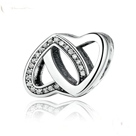 Ring Heart Love Wedding Solid Silver Charm, will fit Pandora, Biagi, Chamilia and Troll Bracelets
