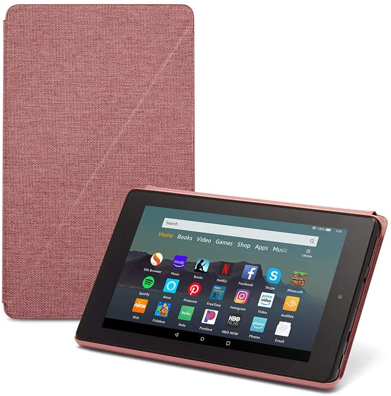 Fire 7 Essentials Bundle including Fire 7 Tablet (Plum, 16GB), Amazon Standing Case (Plum), and Nupro Anti-Glare Screen Protector
