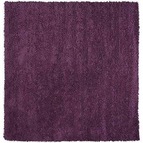 (Charlottevle Shag Plush Solid 8' Square Square Shag 100% Wool - Felted Dark Purple Area Rug)