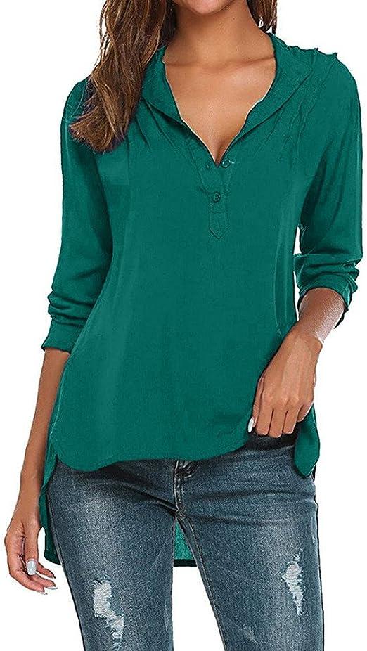 Kinlene - Camisas - Moda - Manga Larga - para Mujer Verde Verde XXX-Large: Amazon.es: Ropa y accesorios