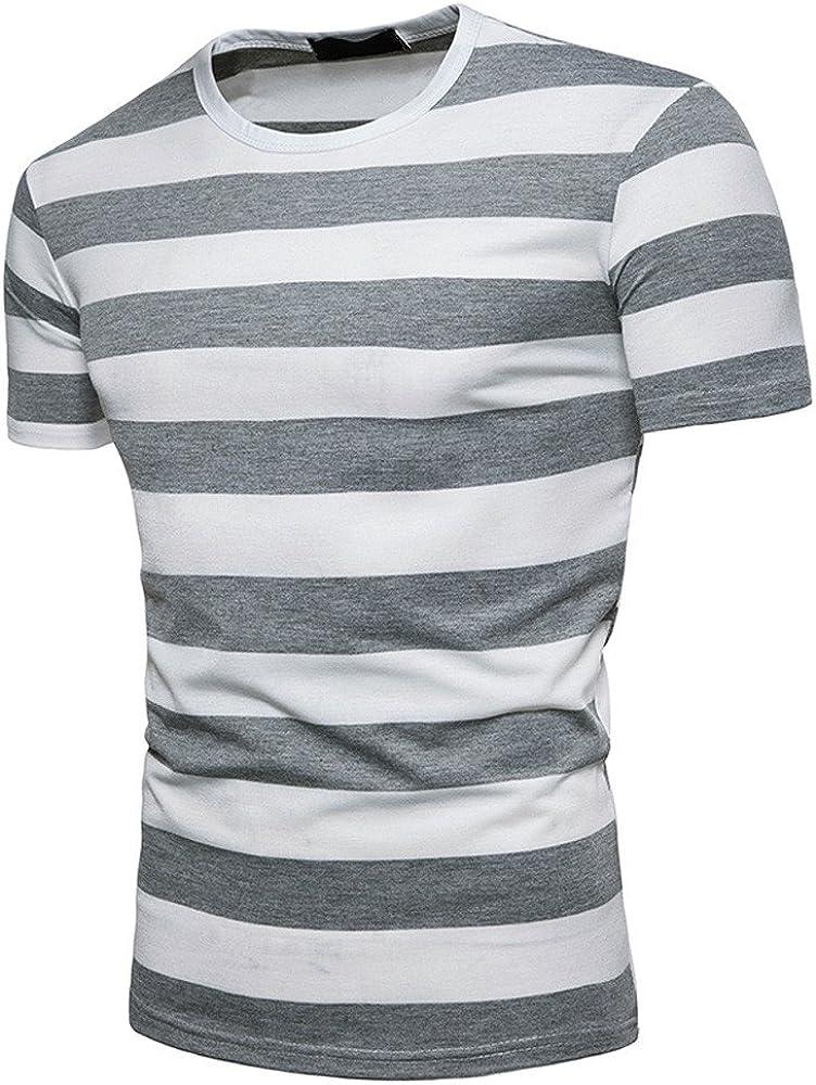 F/_Gotal Mens T-Shirts Summer Color Block Crewneck Short Sleeve Print Striped Tees Sport Blouse Tops Shirt for Men