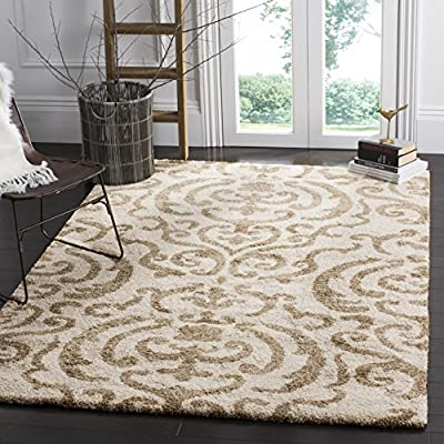 Safavieh Florida Shag Collection SG462-1113 Cream and Beige Area Rug (8' x 10') - Virtually non-shedding rug for convenient upkeep Neutral color palette of cream and beige allows for a smooth integration to any décor Polypropylene power-loomed construction allows for durability and its pile height allows for ultimate comfort - living-room-soft-furnishings, living-room, area-rugs - 61YrZQkrlIL. SS400  -