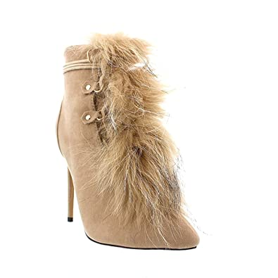 Pointy Toe Front Fur Accent Lace Up Stiletto Ankle Bootie Xaya2