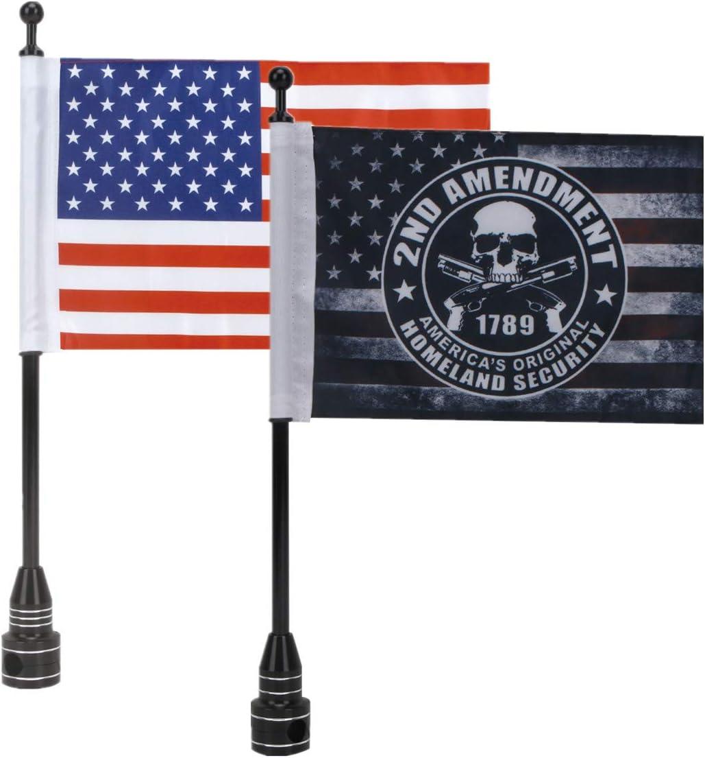 "E-Most 6"" x 9"" American Flag + Antique Skull American Flag + 2 Black Adjustable Flagpole Mount Set for Harley Davidson Honda Goldwing CB VTX CBR Yamaha"