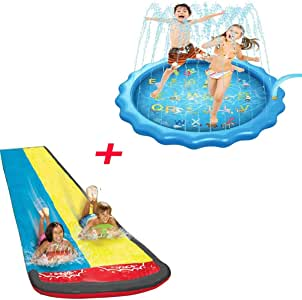Splash Pad + césped Toboganes acuáticos para niños, 170 cm Alfombrilla para rociar agua 4.8M Toboganes de césped con tobogán Tobogán de riego al aire libre de verano y piscina de chapoteo