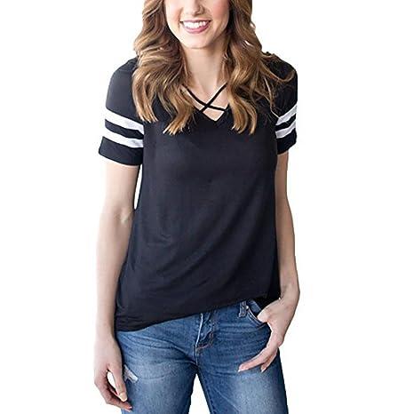 LuckyGirls Camisetas Mujer Originales Manga Corta Verano Rayas Bandage Remeras Blusas Camisas (S, Negro