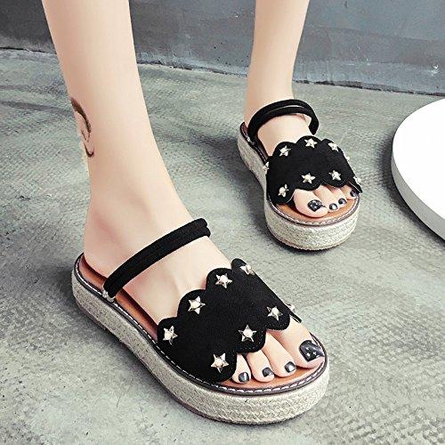 RUGAI-UE Zapatillas Verano Mujer cómodo Soles uno zapatillas Antideslizante remaches zapatos de mujer Black