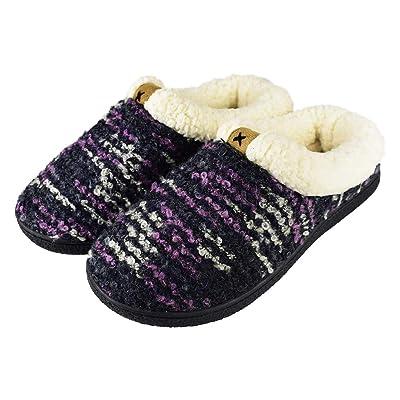RliliR Ever Women's Cozy Fleece Memory Foam Slippers with Anti Slip Sole House Slippers | Slippers