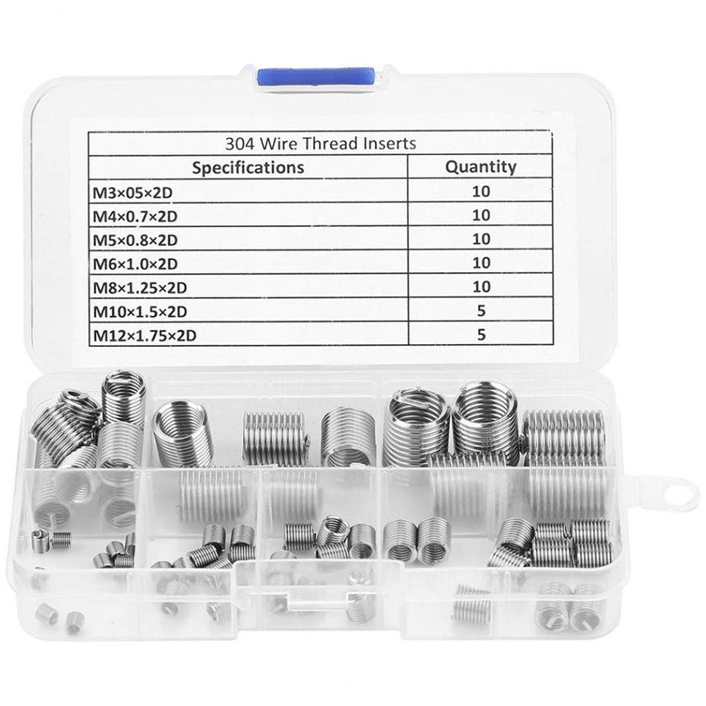 Ochoos 60 Pcs//Set Thread Silver Coiled Home Stainless Steel Tools Accessories Repair Kit for Hardware Sleeve Durable Wire Insert Car