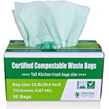 Primode 100% Compostable Bags, 13 Gallon Food Scraps Yard Waste Bags, Extra Thick 0.87 Mil. ASTMD6400 Biodegradable Compost Bags Small Kitchen Trash Bags, Certified By BPI And VINCETTE, (30)