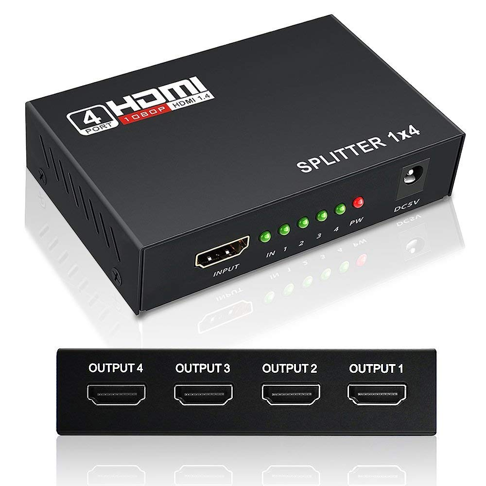 HDMI Splitter Keliiyo 1X4 Ports Powered V1.4b Video Converter with Full Ultra HD 1080P 2K and 3D Resolutions (1 Input to 4 Outputs) by Keliiyo