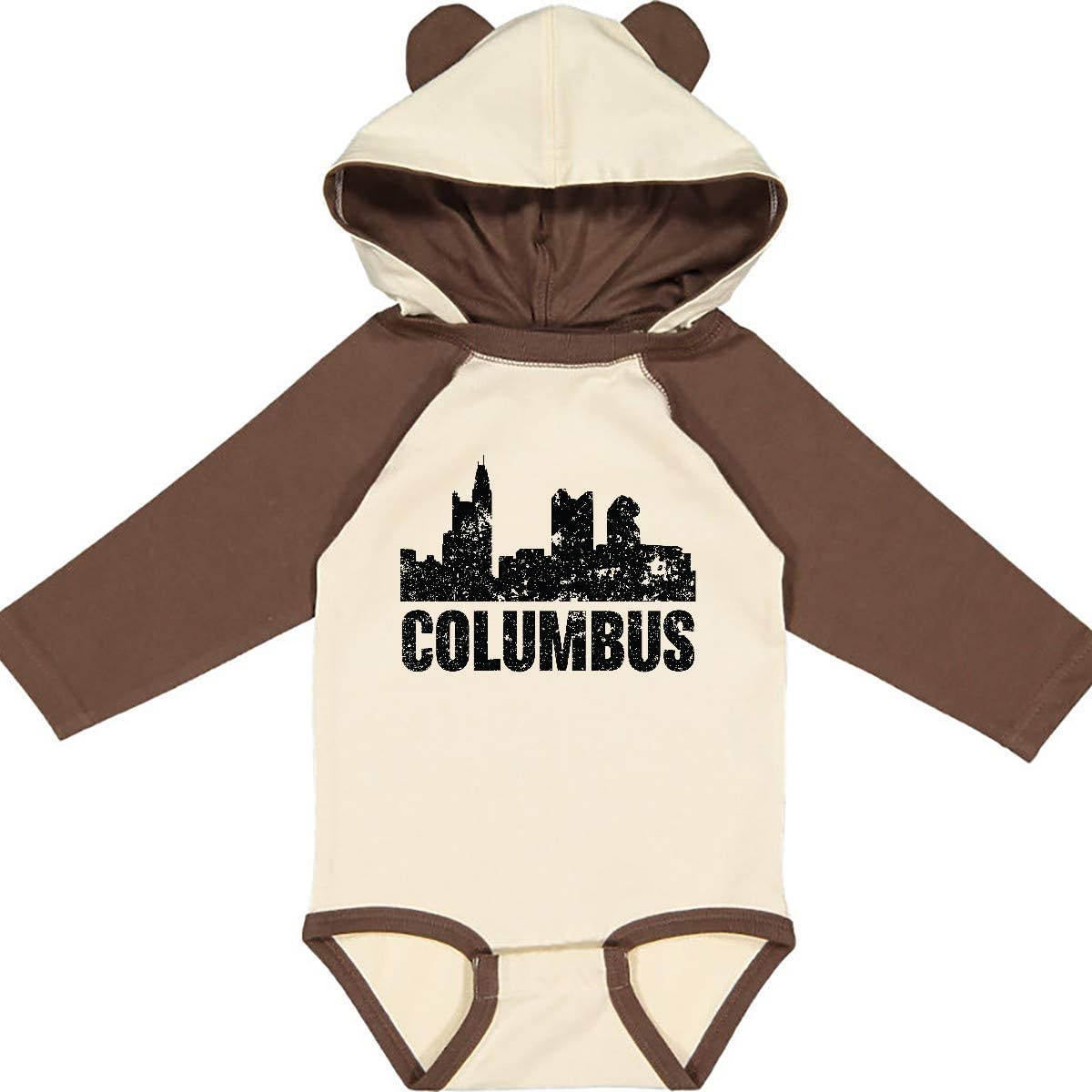 inktastic Columbus Skyline Grunge Long Sleeve Creeper